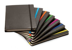 A5 Black Leather Journal With stripe